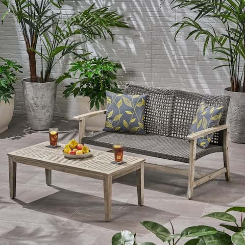 Hampton Outdoor Wood and Wicker Loveseat and Coffee Table Set by Christopher Knight Home
