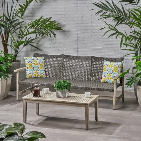 Hampton Outdoor Wood and Wicker Sofa and Coffee Table Set by Christopher Knight Home
