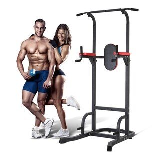 Home Gym Fitness Power Tower with Dip Station Adjustable Exercise Tool - Black