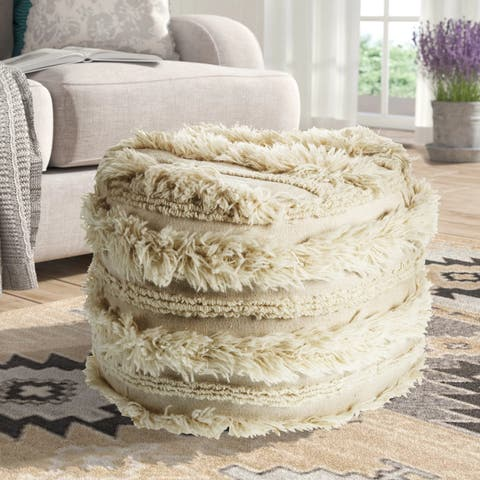 LR Home Fluffy Shaggy Faux Ivory Pouf Ottoman