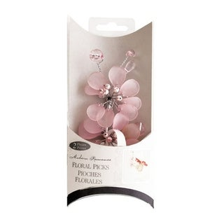 Bulk Buys 2 Piece Frosted Plastic Pink Bouquet Floral Picks - 24 Pack