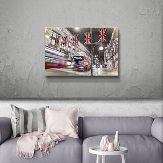 ArtWall Daniel Stein 'London Bus Scene' Gallery Wrapped Canvas - Grey