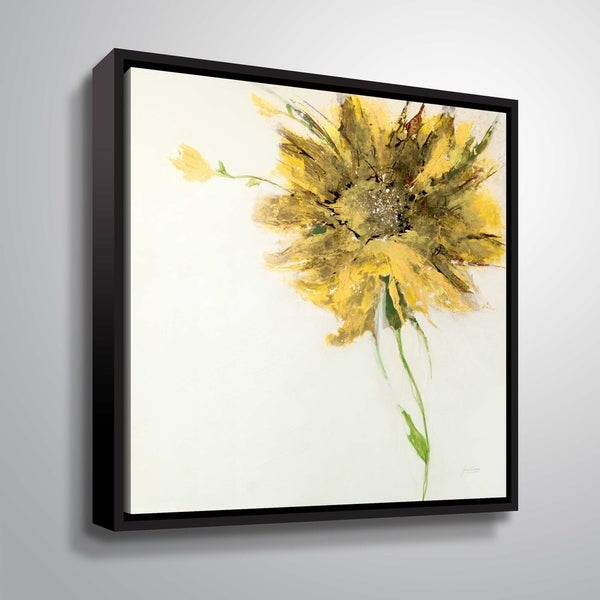 ArtWall Jan Griggs 'Yellow Daisy on White' Gallery Wrapped Floater-framed Canvas - Yellow. Opens flyout.