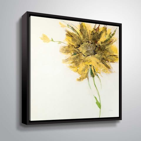 ArtWall Jan Griggs 'Yellow Daisy on White' Gallery Wrapped Floater-framed Canvas - Yellow