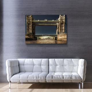 ArtWall Richard James 'Tower Bridge' Gallery Wrapped Canvas - Blue