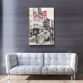 ArtWall Daniel Stein 'London Street Scene' Gallery Wrapped Canvas - Grey