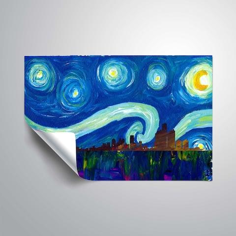 ArtWall Markus/Martina Bleichner 'Detroit Skyline Scissor Starry Night' Removable Wall Art