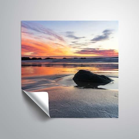 ArtWall Daniel Stein 'Single beach rock at sunset' Removable Wall Art