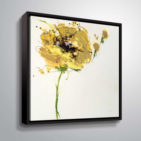 ArtWall Jan Griggs 'Yellow Poppy Master on White' Gallery Wrapped Floater-framed Canvas - Yellow
