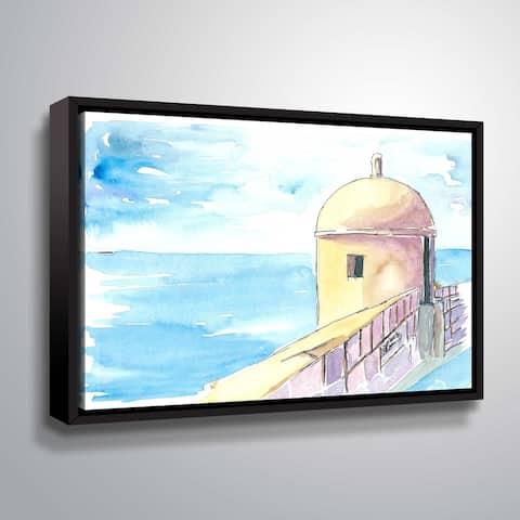 ArtWall Markus/Martina Bleichner 'Dubrovnik Croatia City Wall' Gallery Wrapped Floater-framed Canvas - Blue