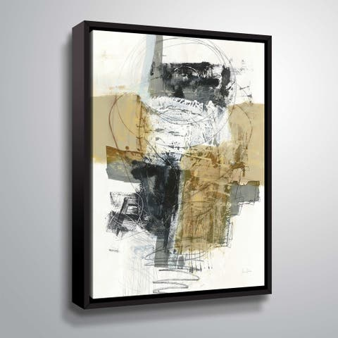 ArtWall Jane Davies 'Action I Archroma' Gallery Wrapped Floater-framed Canvas - Black