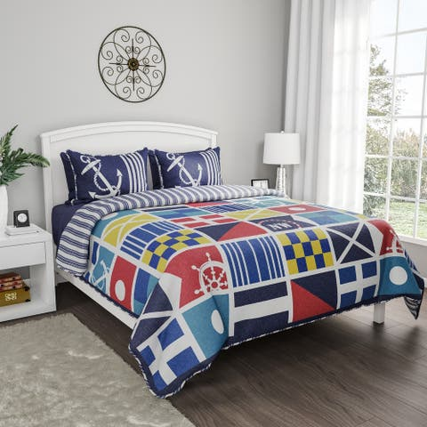 Quilt Bedspread Set Mariner Design- 3 Piece Full/Queen With 2 Shams, Nautical Theme, Reversible, Hypoallergenic By Windsor Home