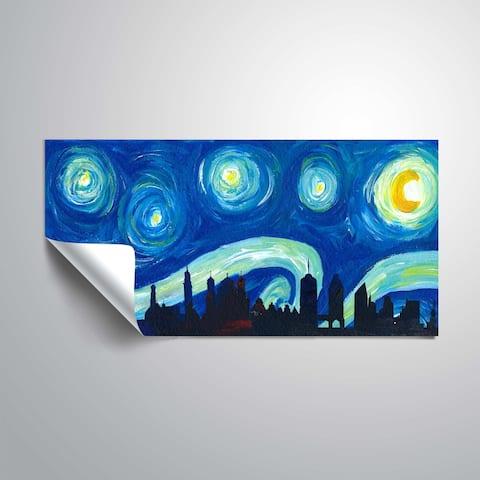 ArtWall Markus/Martina Bleichner 'Augsburg Skyline Scissor Cut LS Starry Night' Removable Wall Art