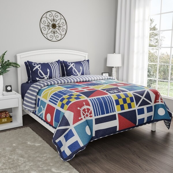 Quilt Bedspread Set Mariner Design- 2 Piece Twin XL With Pillow Sham, Nautical Theme, Reversible, Hypoallergenic By Windsor Home. Opens flyout.