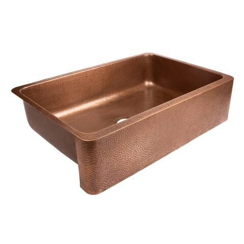 Sinkology Lange Farmhouse Undermount Copper Sink 32 in. Single Bowl Kitchen Sink in Antique Copper