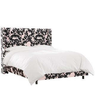 Skyline Furniture Wingback Bed in Palm Springs Blush Black