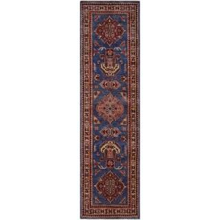 "Super Kazak Slyvia Blue/Ivory Hand-knotted Wool Rug - 2'7 x 6'4 - 2'7"" x 6'4"""