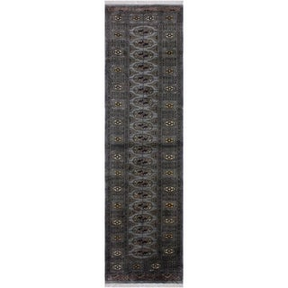 """Bokhara Arya Daisy Gray/Gray Hand-knotted Hand-knotted Wool Rug - 2'8 x 9'8 - 2'8"""" x 9'8"""""""