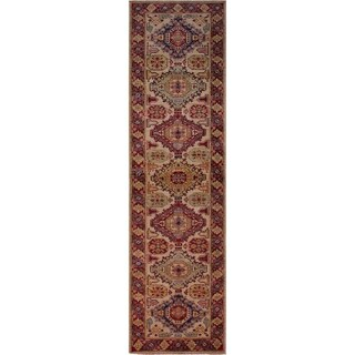 """Super Kazak Salome Ivory/Red Hand-knotted Wool Rug - 2'6 x 8'6 - 2'6"""" x 8'6"""""""