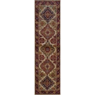 "Super Kazak Tonie Ivory/Red Hand-knotted Wool Rug - 2'7 x 8'0 - 2'7"" x 8'0"""