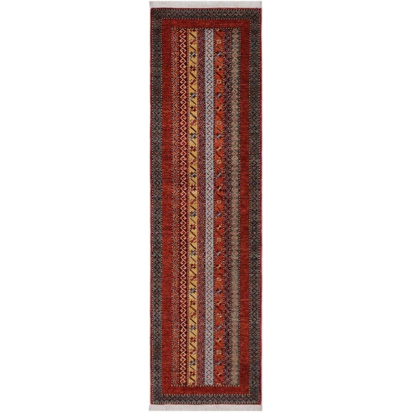 "Shawl Eli Rust/Gray Hand-knotted Wool Rug - 2'7 x 9'7 - 2'7"" x 9'7"""