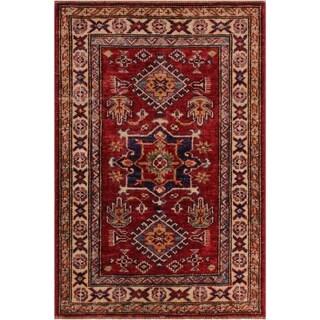 "Super Kazak Tina Red/Ivory Hand-knotted Wool Rug - 2'1 x 3'1 - 2'1"" x 3'1"""