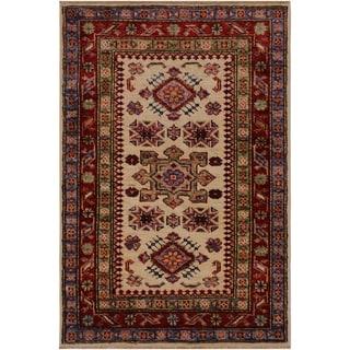 "Super Kazak Geraldo Ivory/Red Hand-knotted Wool Rug - 2'0 x 2'11 - 2'0"" x 2'11"""