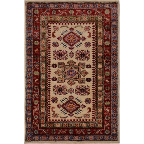 "Super Kazak Geraldo Ivory/Red Hand-knotted Wool Rug - 2'0 x 2'11 - 2'0"" x 2'11"" - 2'0"" x 2'11"""