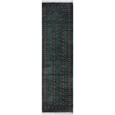 "Bokhara Arya Loris Lt. Green/Black Hand-knotted Wool Rug - 2'7 x 10'5 - 2'7"" x 10'5"" - 2'7"" x 10'5"""