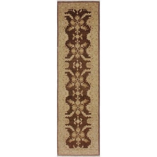 "Ziegler Peshawar Nobuko Brown/Tan Hand-knotted Wool Rug - 2'6 x 9'8 - 2'6"" x 9'8"""