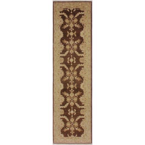 "Ziegler Peshawar Nobuko Brown/Tan Hand-knotted Wool Rug - 2'6 x 9'8 - 2'6"" x 9'8"" - 2'6"" x 9'8"""