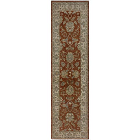 "Ziegler Peshawar Mai Rust/Ivory Hand-knotted Wool Rug - 2'8 x 8'10 - 2'8"" x 8'10"" - 2'8"" x 8'10"""