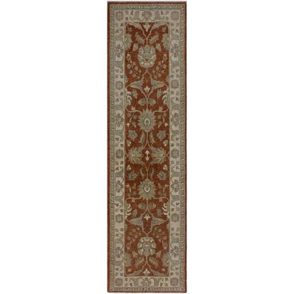 "Ziegler Peshawar Mai Rust/Ivory Hand-knotted Wool Rug - 2'8 x 8'10 - 2'8"" x 8'10"""