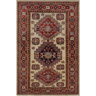 """Super Kazak Tracie Ivory/Red Hand-knotted Wool Rug - 2'8 x 4'0 - 2'8"""" x 4'0"""""""