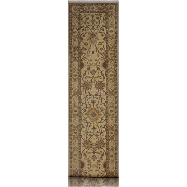 "Ziegler Peshawar Phebe Lt. Tan/Gold Hand-knotted Wool Rug - 2'6 x 11'4 - 2'6"" x 11'4"""