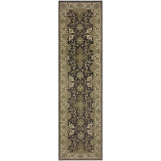 """Ziegler Peshawar Marg Charcoal/Brown Hand-knotted Wool Rug - 2'7 x 10'3 - 2'7"""" x 10'3"""""""