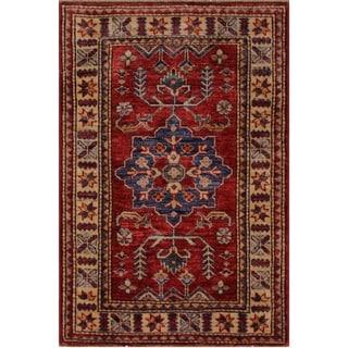 """Super Kazak Zenaida Red/Beige Hand-knotted Wool Rug - 2'1 x 3'0 - 2'1"""" x 3'0"""""""