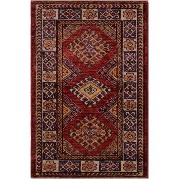 "Super Kazak Garland Red/Ivory Hand-knotted Wool Rug - 2'0 x 2'11 - 2'0"" x 2'11"""