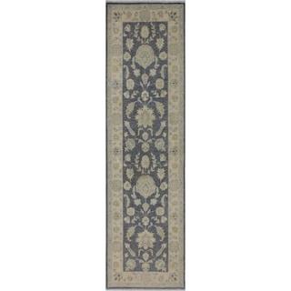 "Ziegler Peshawar Erna Gray/Ivory Hand-knotted Wool Rug - 2'7 x 8'4 - 2'7"" x 8'4"""