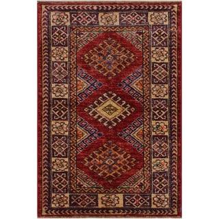 """Super Kazak Margaret Red/Beige Hand-knotted Wool Rug - 2'0 x 2'10 - 2'0"""" x 2'10"""""""