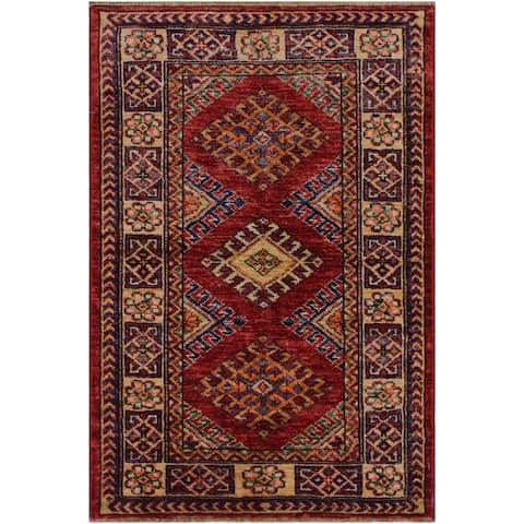 """Super Kazak Margaret Red/Beige Hand-knotted Wool Rug - 2'0 x 2'10 - 2'0"""" x 2'10"""" - 2'0"""" x 2'10"""""""