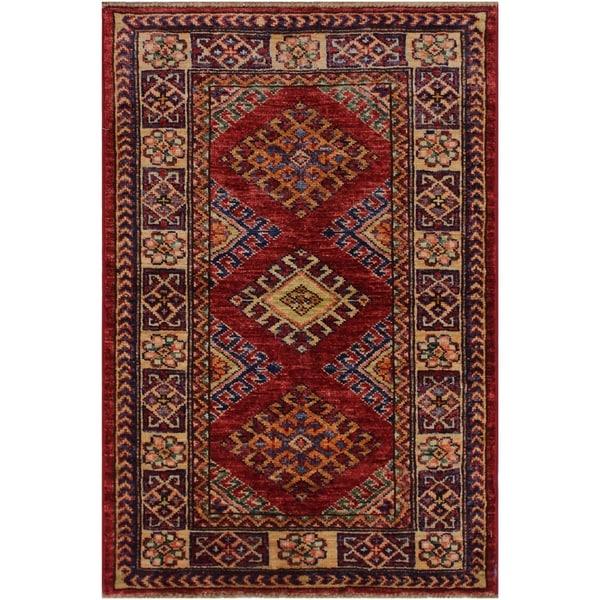 "Super Kazak Margaret Red/Beige Hand-knotted Wool Rug - 2'0 x 2'10 - 2'0"" x 2'10"" - 2'0"" x 2'10"". Opens flyout."