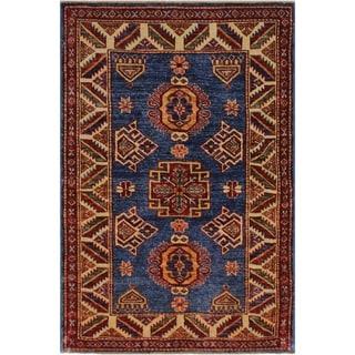 "Super Kazak Lizzette Blue/Ivory Hand-knotted Wool Rug - 2'9 x 3'8 - 2'9"" x 3'8"""