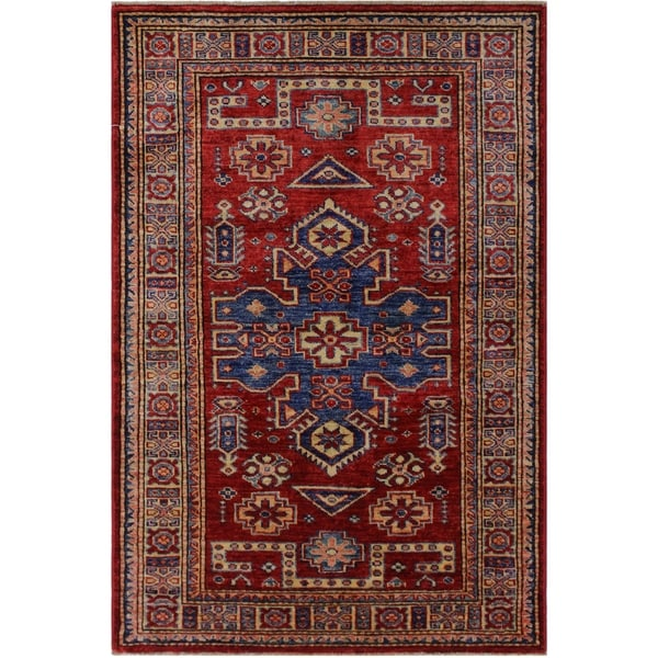 """Super Kazak Cathey Red/Beige Hand-knotted Wool Rug - 2'7 x 4'1 - 2'7"""" x 4'1"""""""