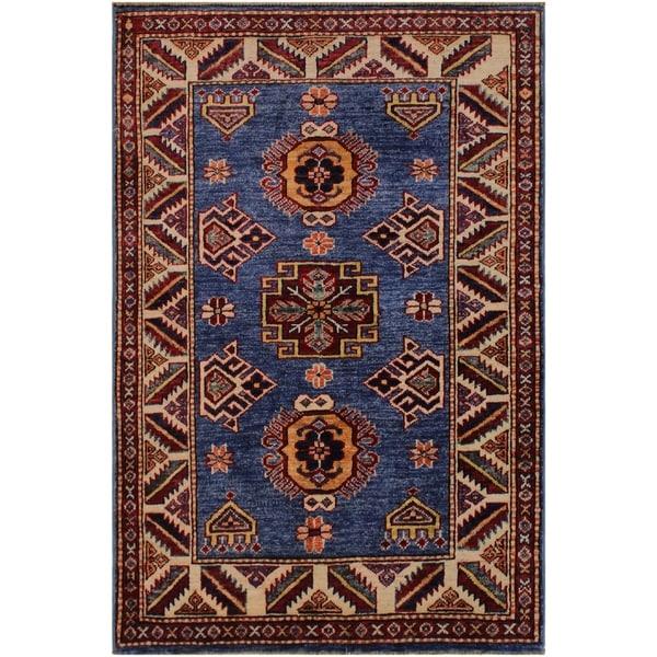 "Super Kazak Marlene Lt. Blue/Ivory Hand-knotted Wool Rug - 2'6 x 3'6 - 2'6"" x 3'6"""