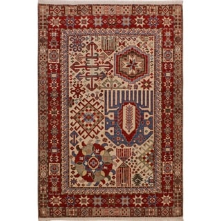 "Super Kazak Jefferso Ivory/Red Hand-knotted Wool Rug - 4'11 x 6'6 - 4'11"" x 6'6"""