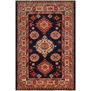 "Super Kazak Bev Blue/Ivory Hand-knotted Wool Rug - 2'1 x 3'2 - 2'1"" x 3'2"""