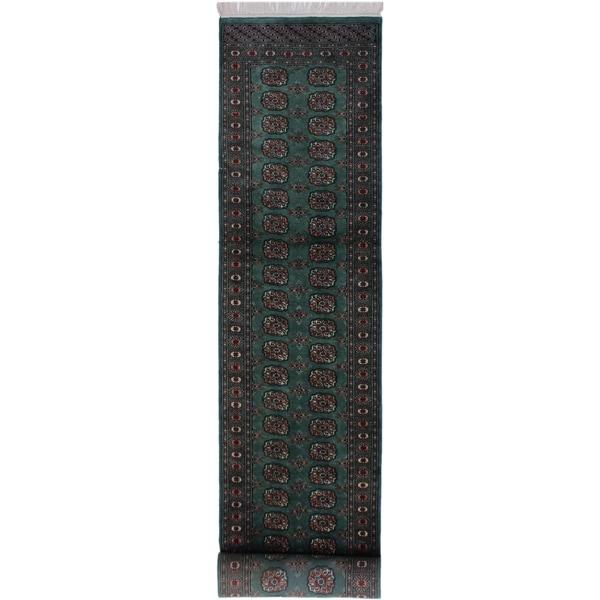 "Bokhara Arya Margert Lt. Green/Black Hand-knotted Wool Rug - 2'7 x 11'6 - 2'7"" x 11'6"""