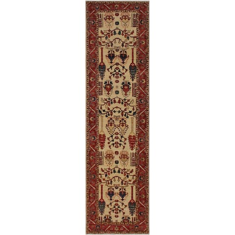 "Ziegler Peshawar Marshall Tan/Rust Hand-knotted Wool Rug - 2'9 x 9'7 - 2'9"" x 9'7"" - 2'9"" x 9'7"""