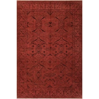 """Overdyed Color Reform Stepanie Lt.red/Lt.red Hand-knotted Wool Rug - 8'10 x 12'10 - 8'10"""" x 12'10"""""""